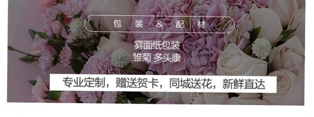 19朵粉雪山+1个绣球混搭花束包装/配花