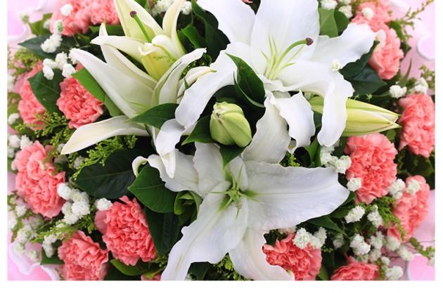 19朵粉色康乃馨百合花束细节图片