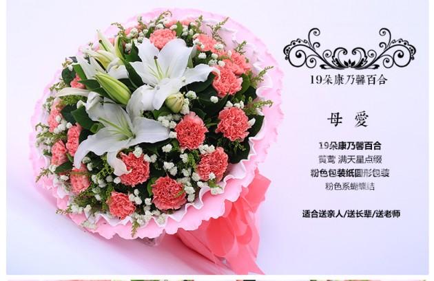 19朵粉色康乃馨百合花束满天星点缀