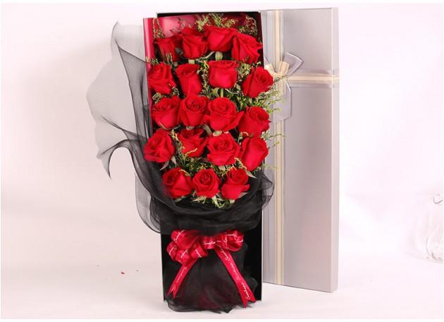 19朵红玫瑰鲜花礼盒图片
